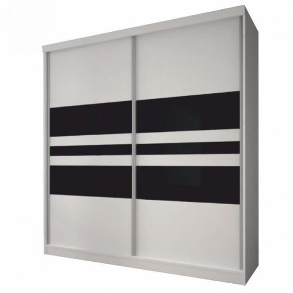 Dulap cu uşi glisante, alb/sticlă...
