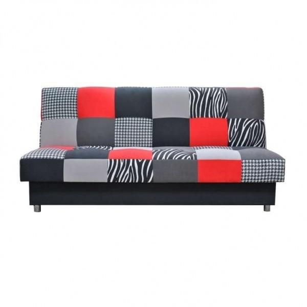 Canapea, textil rosu/gri/negru, ALABAMA