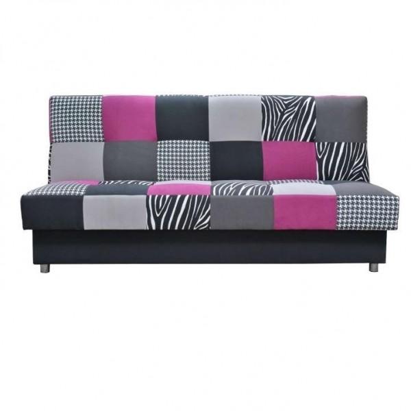 Canapea, textil roz/gri/neagra, ALABAMA