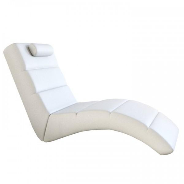 Fotoliu relaxant, piele eco albă, LONG
