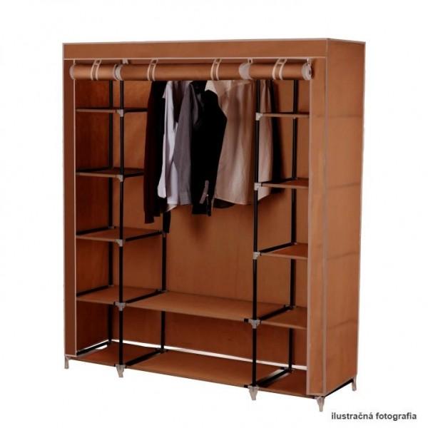 Dulap garderoba, textil/metal, maro,...