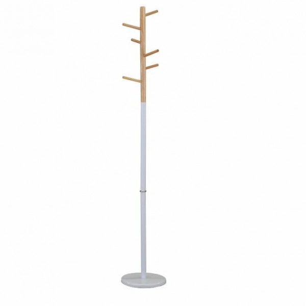 Cuier, lemn natural/metal alb, HORST