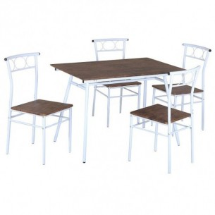 Set dining 1+4, lemn/alb...