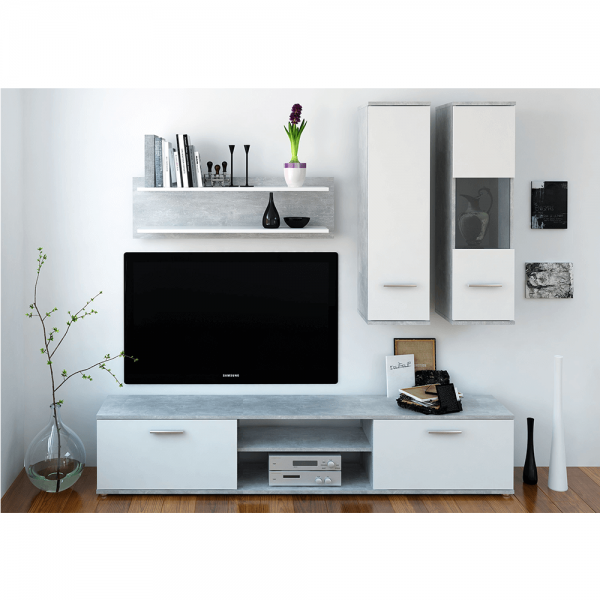 Mobilier pentru living, beton/alb,...
