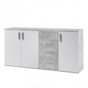Comoda, alba/beton, POPPY 3