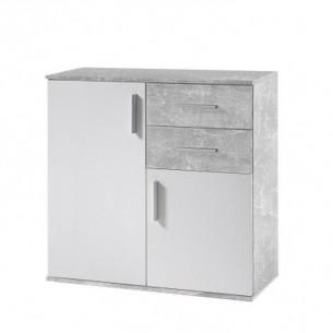 Comoda, alb/beton, POPPY 4