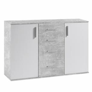 Comoda, alb/beton, POPPY 5