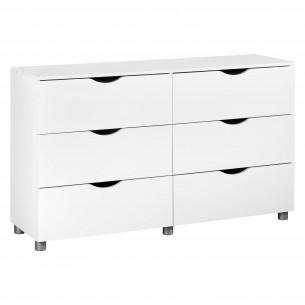 Comoda 6 sertare LETTY alb in stil Modern,din MDF si PAL,culoare Alb