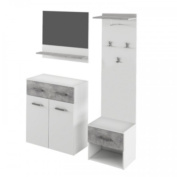Set mobila vestibul, alb/beton, SIMA