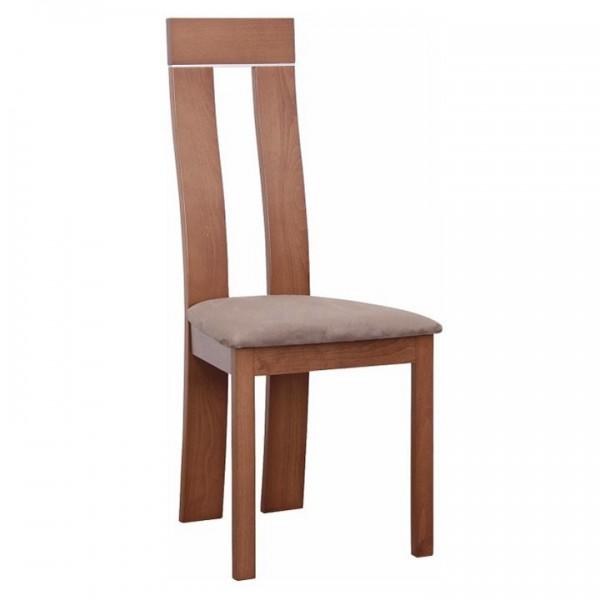 Scaun lemn, cires/material maro, DESI