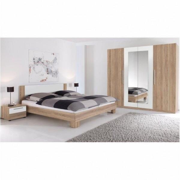 Dormitor, complet, stejar sonoma/alb,...